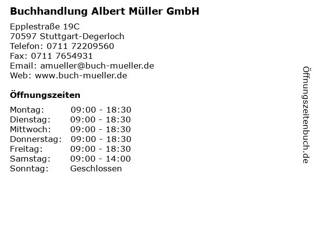 Buchhandlung Albert Müller GmbH in Stuttgart-Degerloch: Adresse und Öffnungszeiten