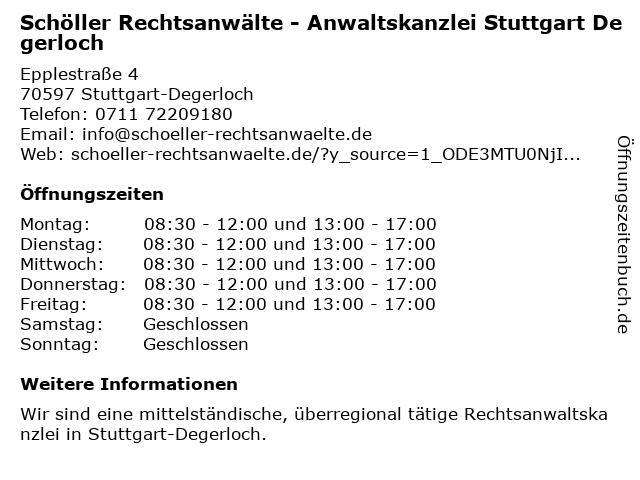 Schöller Rechtsanwälte in Stuttgart-Degerloch: Adresse und Öffnungszeiten