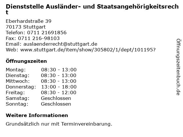 Dienststelle Ausländer- und Staatsangehörigkeitsrecht in Stuttgart: Adresse und Öffnungszeiten