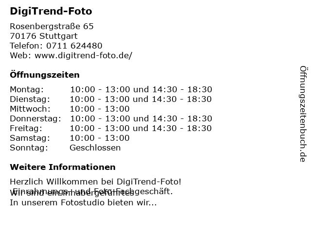 DigiTrend-Foto in Stuttgart: Adresse und Öffnungszeiten