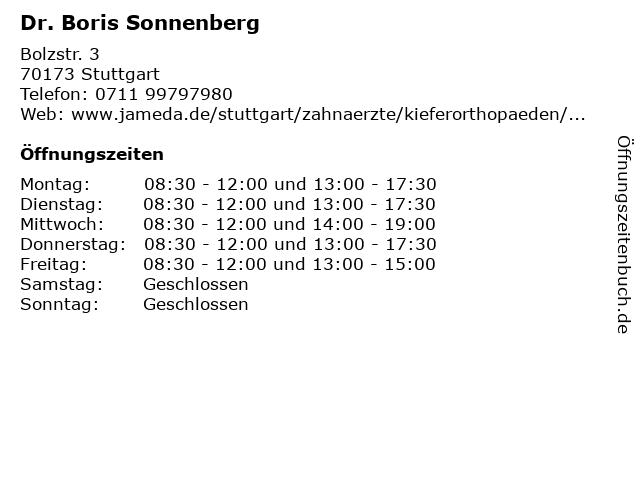 SONNENBERG Kieferorthopädie in Stuttgart: Adresse und Öffnungszeiten