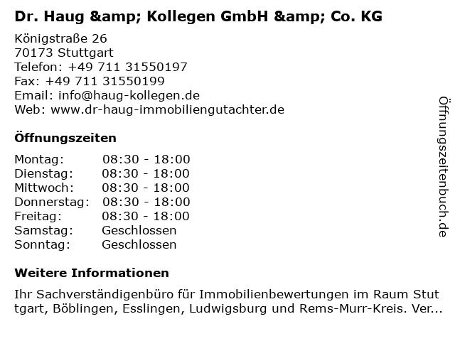 Dr. Haug & Kollegen GmbH & Co. KG in Stuttgart: Adresse und Öffnungszeiten