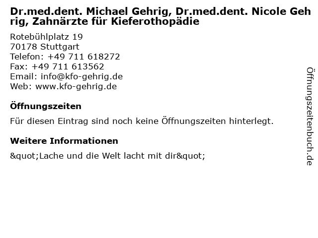 Dr.med.dent. Michael Gehrig, Dr.med.dent. Nicole Gehrig, Zahnärzte für Kieferothopädie in Stuttgart: Adresse und Öffnungszeiten