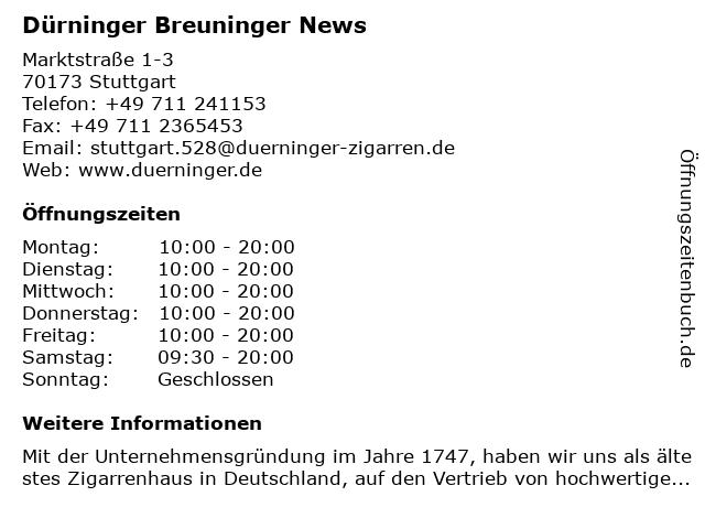 Dürninger in Stuttgart: Adresse und Öffnungszeiten