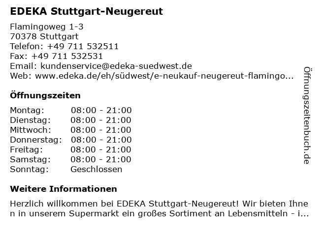 EDEKA neukauf Neugereut in Stuttgart: Adresse und Öffnungszeiten