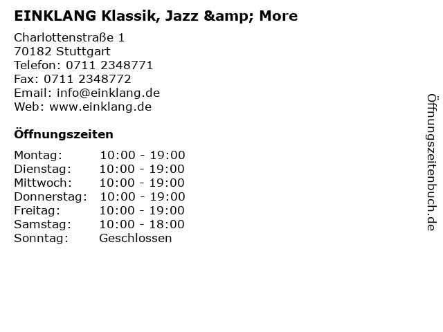 EINKLANG Klassik, Jazz & More in Stuttgart: Adresse und Öffnungszeiten