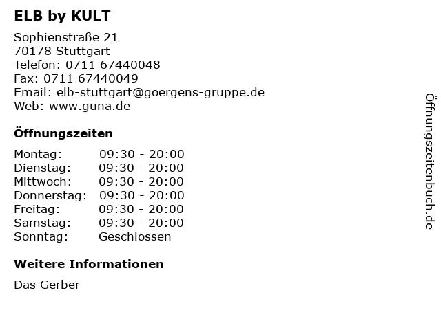 ELB by KULT in Stuttgart: Adresse und Öffnungszeiten