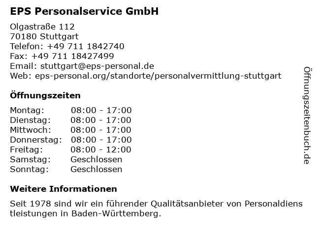EPS Personalservice GmbH in Stuttgart: Adresse und Öffnungszeiten