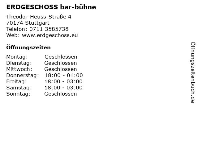 ERDGESCHOSS bar-bühne in Stuttgart: Adresse und Öffnungszeiten