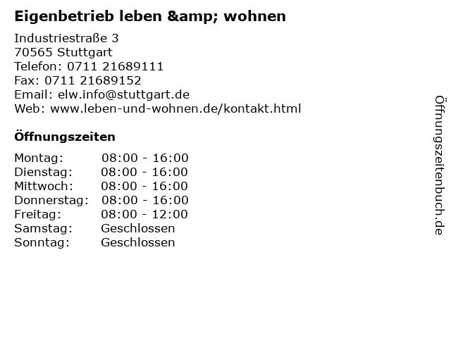 Eigenbetrieb leben & wohnen in Stuttgart: Adresse und Öffnungszeiten
