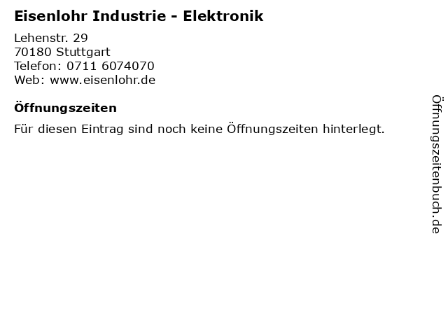 Eisenlohr Industrie - Elektronik in Stuttgart: Adresse und Öffnungszeiten