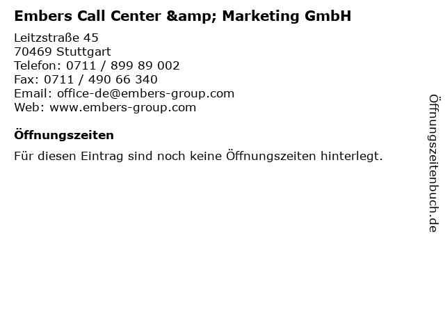 Embers Call Center & Marketing GmbH in Stuttgart: Adresse und Öffnungszeiten