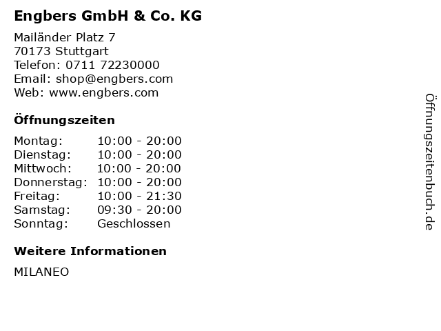 Engbers GmbH & Co. KG in Stuttgart: Adresse und Öffnungszeiten
