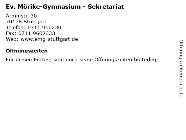 Ev. Mörike-Gymnasium - Sekretariat in Stuttgart: Adresse und Öffnungszeiten