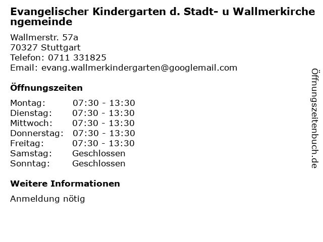 Evangelischer Kindergarten d. Stadt- u Wallmerkirchengemeinde in Stuttgart: Adresse und Öffnungszeiten