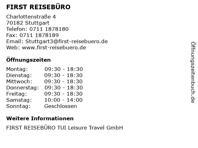 FIRST REISEBÜRO in Stuttgart: Adresse und Öffnungszeiten