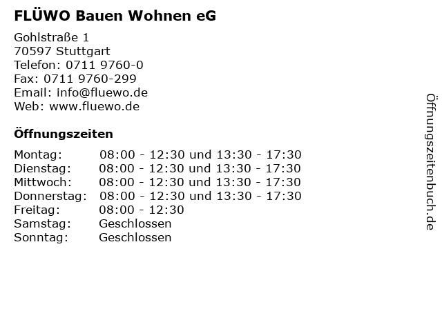 FLÜWO Bauen Wohnen eG in Stuttgart: Adresse und Öffnungszeiten