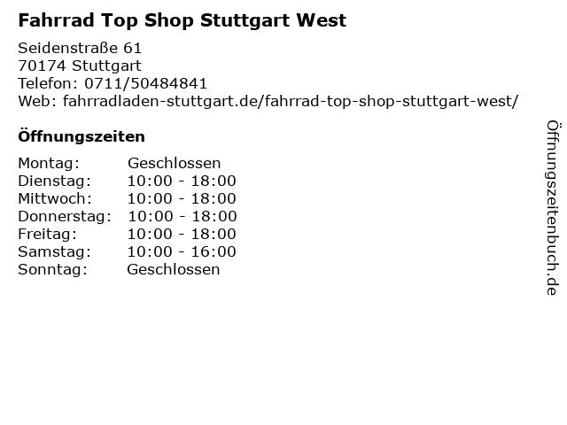 Fahrrad Top Shop Stuttgart West in Stuttgart: Adresse und Öffnungszeiten