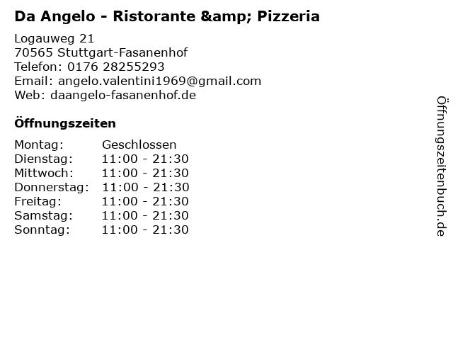 Da Angelo - Ristorante & Pizzeria in Stuttgart-Fasanenhof: Adresse und Öffnungszeiten