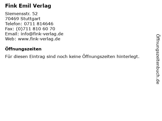 Fink Emil Verlag in Stuttgart: Adresse und Öffnungszeiten
