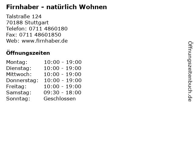 Firnhaber - natürlich Wohnen in Stuttgart: Adresse und Öffnungszeiten