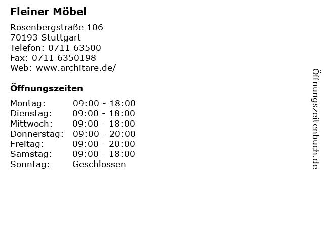 Fleiner Möbel in Stuttgart: Adresse und Öffnungszeiten