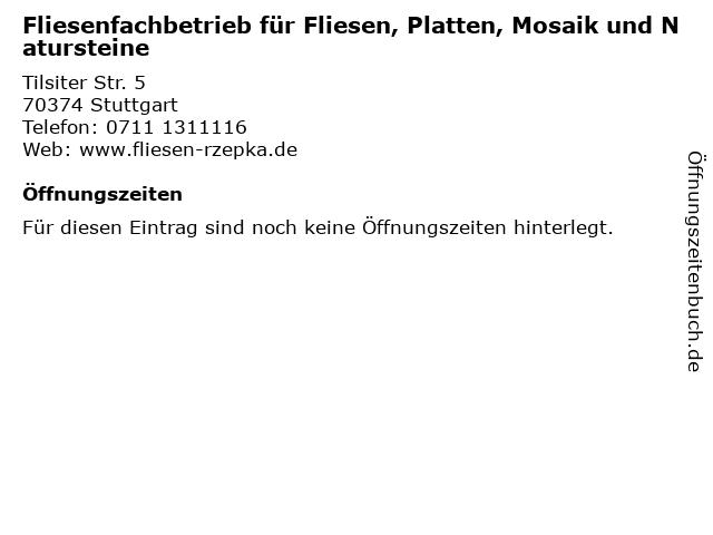 Fliesenfachbetrieb für Fliesen, Platten, Mosaik und Natursteine in Stuttgart: Adresse und Öffnungszeiten