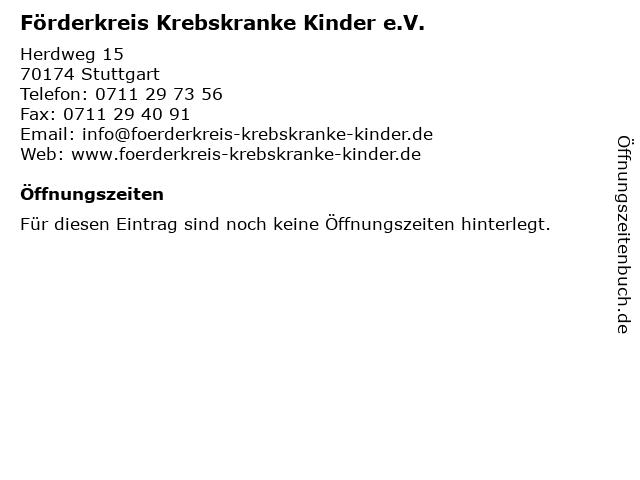 Förderkreis Krebskranke Kinder e.V. in Stuttgart: Adresse und Öffnungszeiten