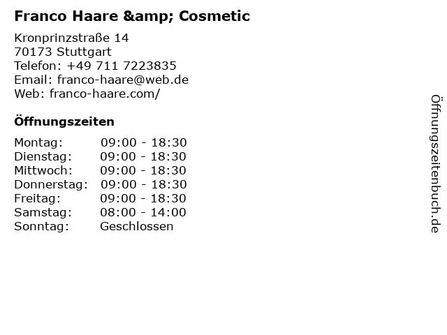 Franco Haare & Cosmetic in Stuttgart: Adresse und Öffnungszeiten