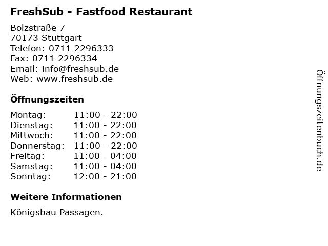 FreshSub - Fastfood Restaurant in Stuttgart: Adresse und Öffnungszeiten
