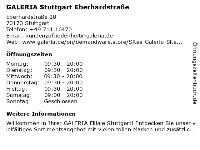 GALERIA (Kaufhof) Stuttgart Eberhardstraße in Stuttgart: Adresse und Öffnungszeiten