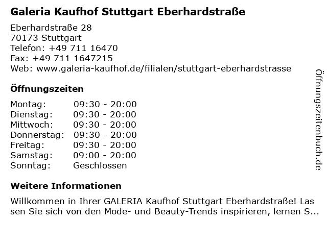Galeria Kaufhof Stuttgart Eberhardstraße in Stuttgart: Adresse und Öffnungszeiten