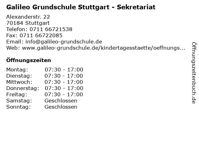 Galileo Grundschule Stuttgart - Sekretariat in Stuttgart: Adresse und Öffnungszeiten