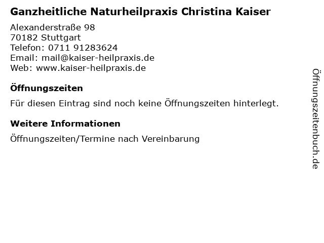 Ganzheitliche Naturheilpraxis Christina Kaiser in Stuttgart: Adresse und Öffnungszeiten