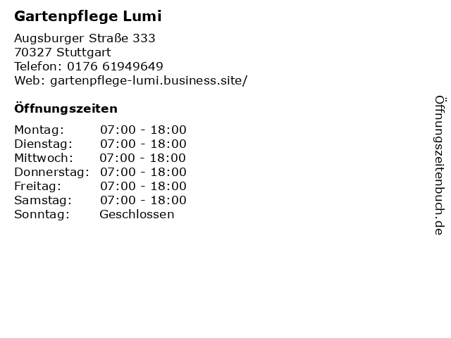 Gartenpflege Lumi in Stuttgart: Adresse und Öffnungszeiten