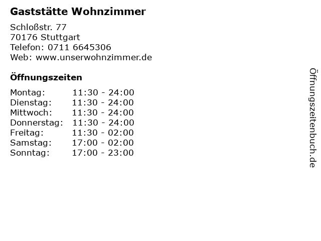ᐅ öffnungszeiten Gaststätte Wohnzimmer Schloßstr 77 In Stuttgart