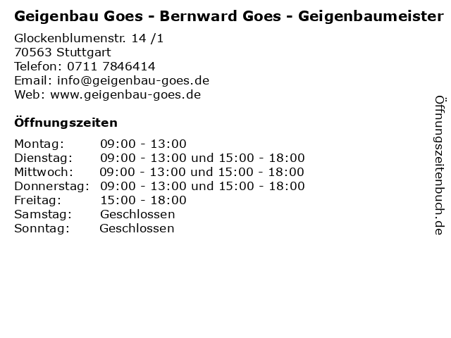 Geigenbau Goes - Bernward Goes - Geigenbaumeister in Stuttgart: Adresse und Öffnungszeiten