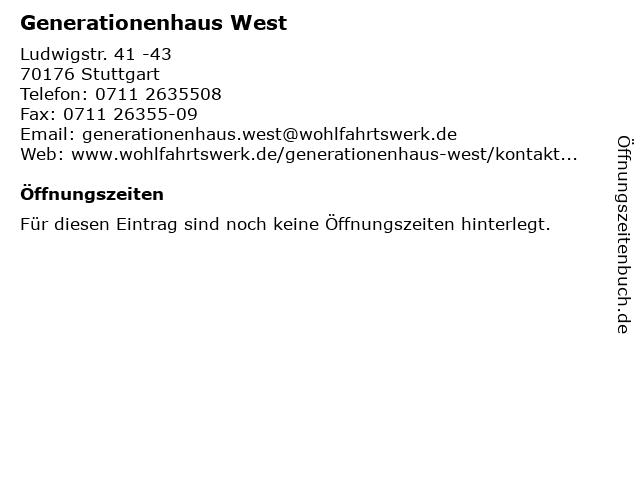 Generationenhaus West in Stuttgart: Adresse und Öffnungszeiten