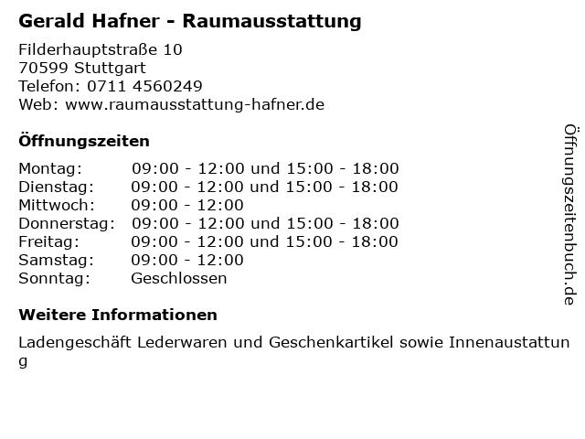 Gerald Hafner - Raumausstattung in Stuttgart: Adresse und Öffnungszeiten