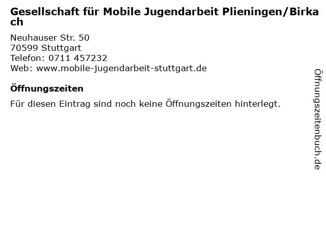 Gesellschaft für Mobile Jugendarbeit Plieningen/Birkach in Stuttgart: Adresse und Öffnungszeiten