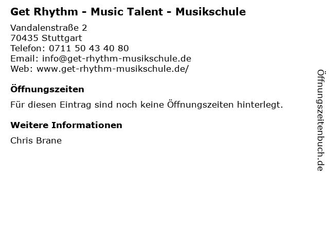 Get Rhythm - Music Talent - Musikschule in Stuttgart: Adresse und Öffnungszeiten