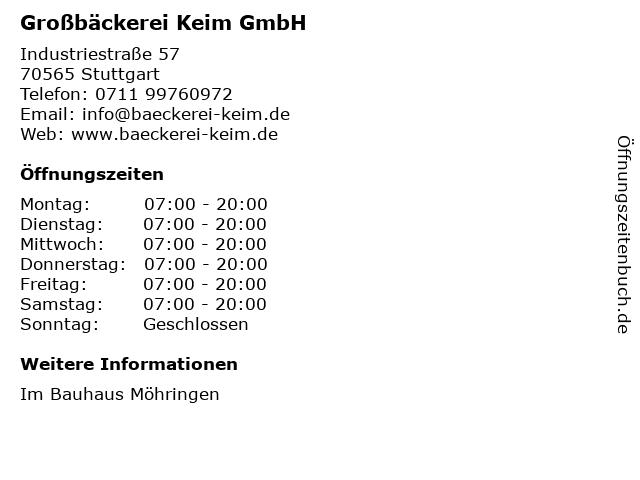 Großbäckerei Keim GmbH in Stuttgart: Adresse und Öffnungszeiten