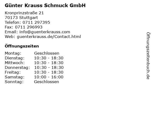 Günter Krauss Schmuck GmbH in Stuttgart: Adresse und Öffnungszeiten