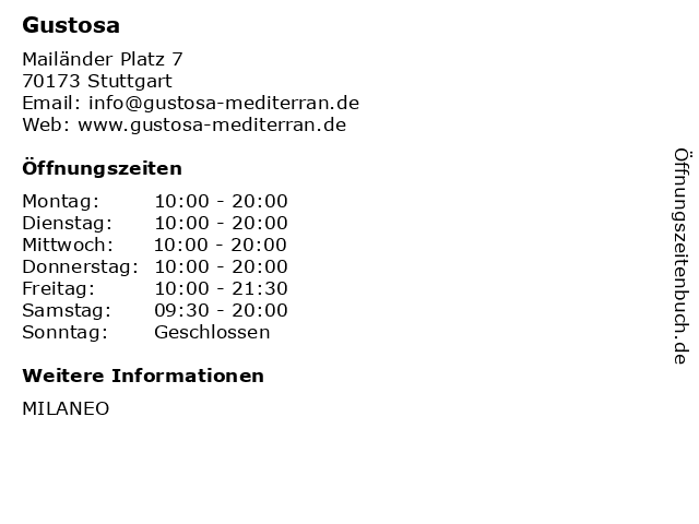 Gustosa in Stuttgart: Adresse und Öffnungszeiten
