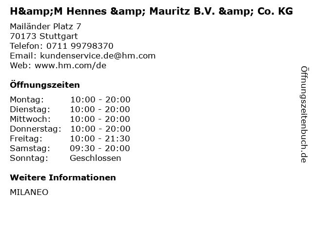 H&M Hennes & Mauritz B.V. & Co. KG in Stuttgart: Adresse und Öffnungszeiten