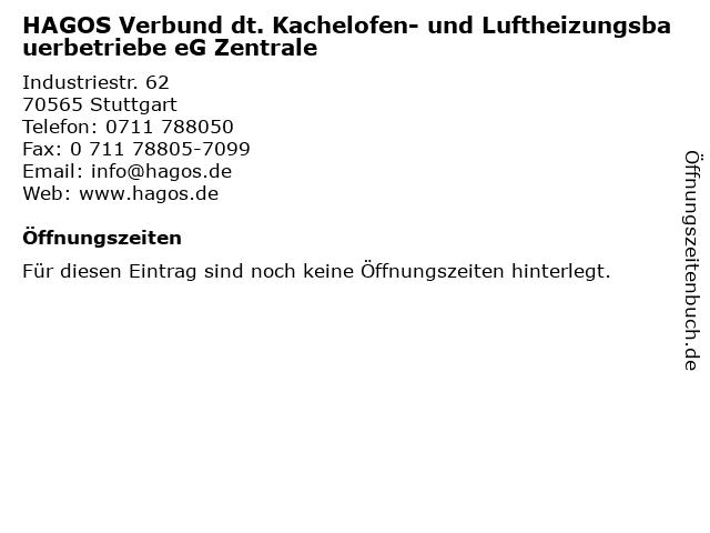 HAGOS Verbund dt. Kachelofen- und Luftheizungsbauerbetriebe eG Zentrale in Stuttgart: Adresse und Öffnungszeiten