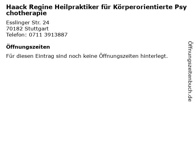 Haack Regine Heilpraktiker für Körperorientierte Psychotherapie in Stuttgart: Adresse und Öffnungszeiten
