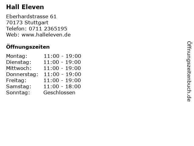 Hall Eleven in Stuttgart: Adresse und Öffnungszeiten