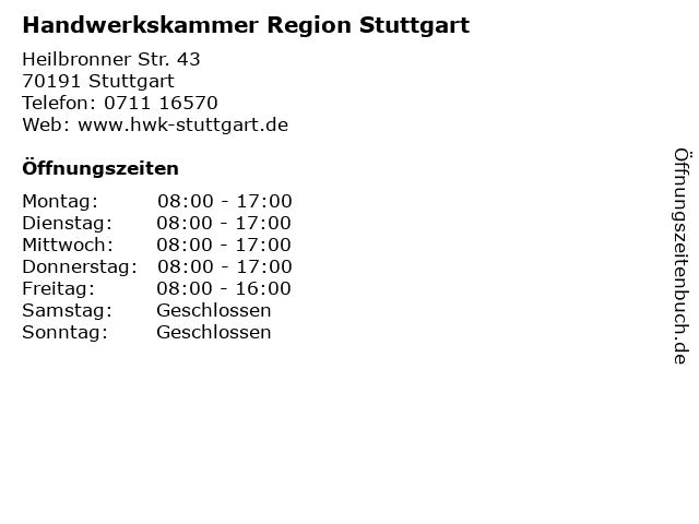 Handwerkskammer Region Stuttgart in Stuttgart: Adresse und Öffnungszeiten