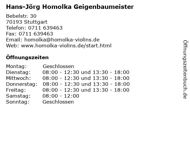 Hans-Jörg Homolka Geigenbaumeister in Stuttgart: Adresse und Öffnungszeiten